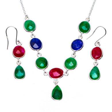 Natural Emerald,Cherry Ruby and Sapphire 925 Silver Jewelry Set Necklace 18.25