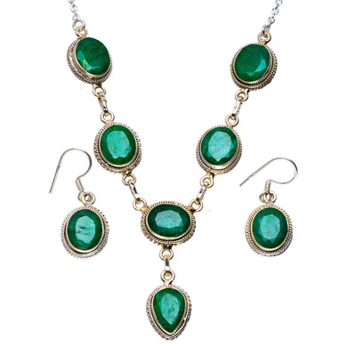 Natural Emerald Handmade Unique Handmade Jewelry Set Necklace 20.5