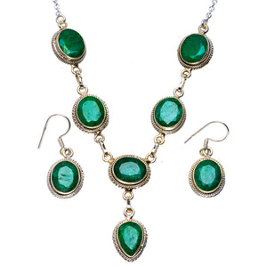 "Natural Emerald Handmade Unique Handmade Jewelry Set Necklace 20.5"" Earrings 1.25"" A3289"