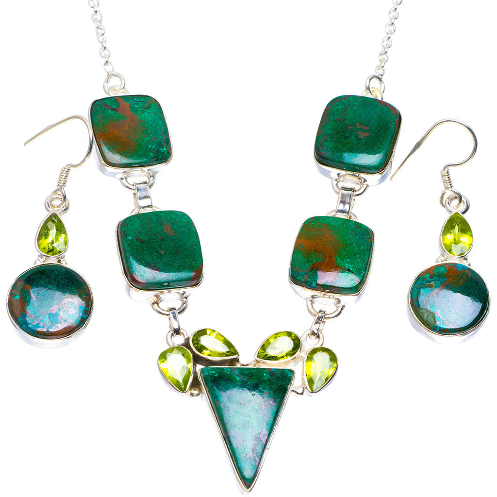 Natural Chrysocolla and Peridot 925 Sterling Silver Jewelry Set Necklace 19.5