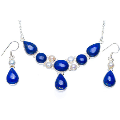 Natural Lapis Lazuli and River Pearl 925  Silver Jewelry Set Necklace 17.5