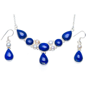 "Natural Lapis Lazuli and River Pearl 925  Silver Jewelry Set Necklace 17.5"" Earrings 1.5"" A3443"