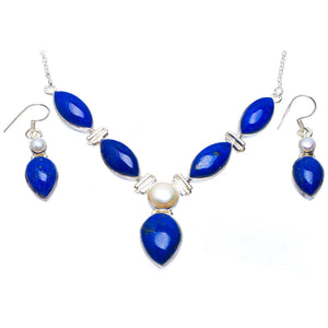 "Natural Lapis Lazuli and River Pearl 925  Silver Jewelry Set Necklace 18.75"" Earrings 1.5"" A3489"