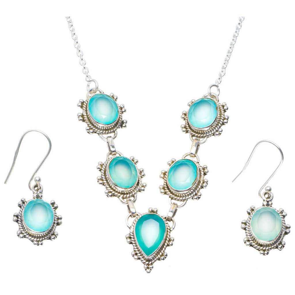 Natural Chalcedony Handmade Unique 925 Sterling Silver Jewelry Set Necklace 18