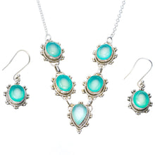 "Natural Chalcedony Handmade Unique 925 Sterling Silver Jewelry Set Necklace 18"" Earrings 1.5"" A3540"