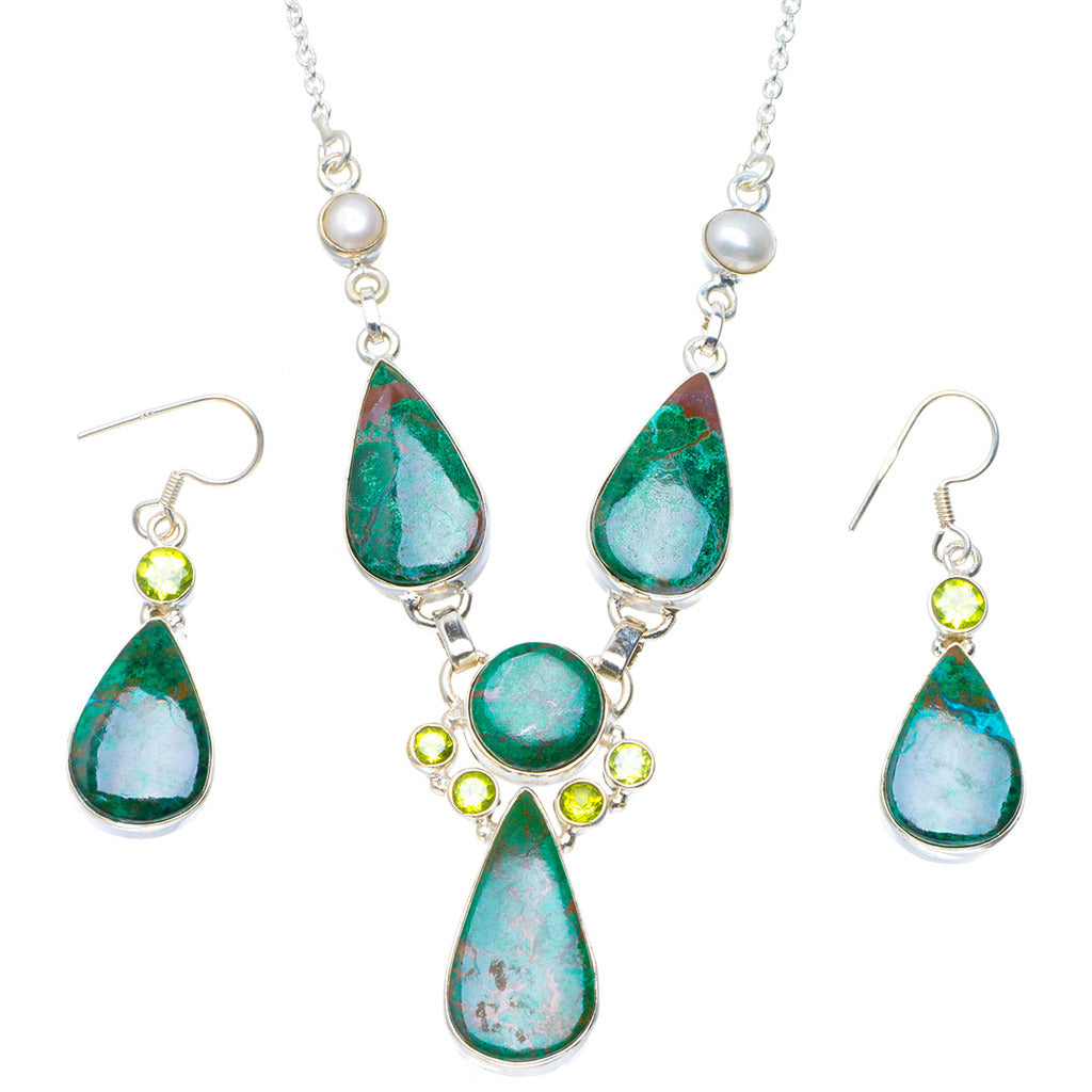 Natural Chrysocolla,River Pearl and Peridot 925 Silver Jewelry Set Necklace 19.5