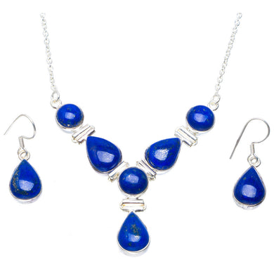 Natural Lapis Lazuli 925 Sterling Silver Jewelry Set Necklace 16.75