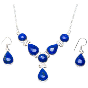 "Natural Lapis Lazuli 925 Sterling Silver Jewelry Set Necklace 16.75"" Earrings 1.25"" A3571"