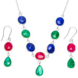 "Natural Emerald,Cherry Ruby and Sapphire 925 Silver Jewelry Set Necklace 18.75"" Earrings 2"" A3579"
