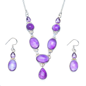 "Natural Amethyst Handmade Unique 925 Sterling Silver Jewelry Set Necklace 18.5"" Earrings 1.5"" A3603"