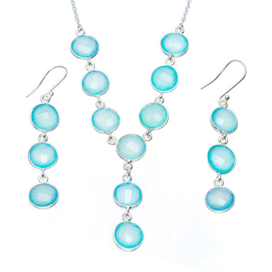 Natural Chalcedony Handmade Unique 925 Sterling Silver Jewelry Set Necklace 17.5