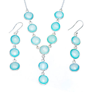 "Natural Chalcedony Handmade Unique 925 Sterling Silver Jewelry Set Necklace 17.5"" Earrings 2.5"" A3605"