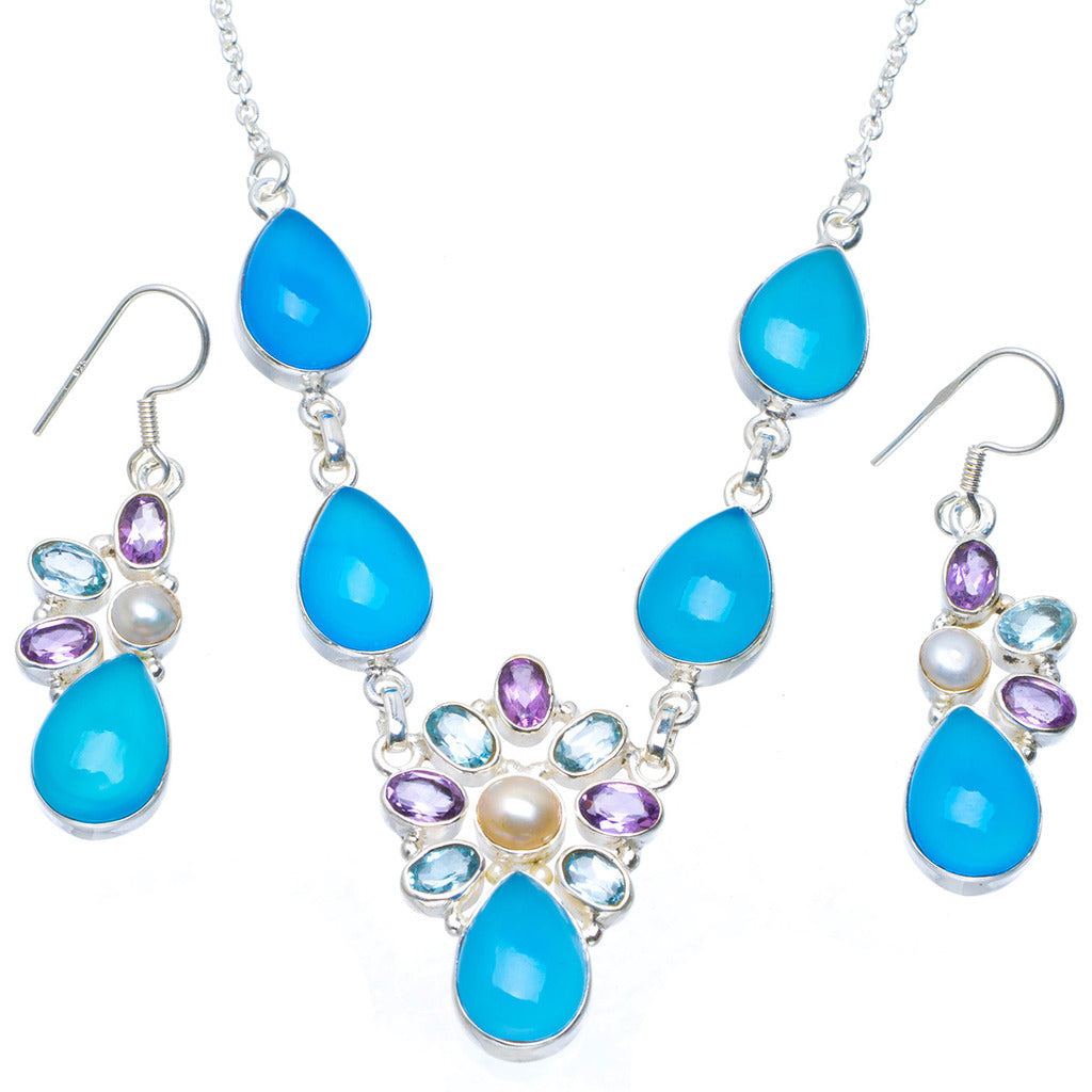 Natural Chalcedony and River Pearl 925 Sterling Silver Jewelry Set Necklace 19