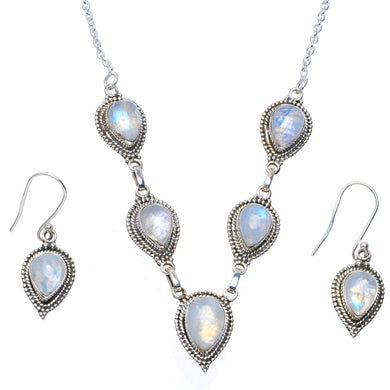 Natural Rainbow Moonstone 925 Sterling Silver Jewelry Set Necklace 18.5