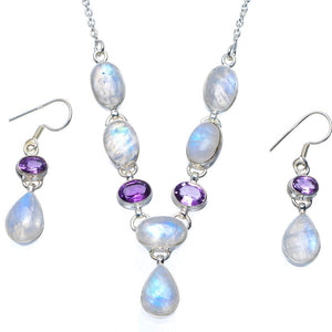 "Natural Rainbow Moonstone,Amethyst 925 Sterling Silver Jewelry Set Necklace 19"" Earrings 1.5"" A3614"