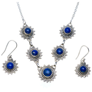 "Natural Lapis Lazuli 925 Sterling Silver Jewelry Set Necklace 18.25"" Earrings 1.25"" A3620"