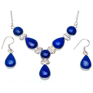 "Natural Lapis Lazuli 925 Sterling Silver Jewelry Set Necklace 16.5"" Earrings 1.25"" A3632"