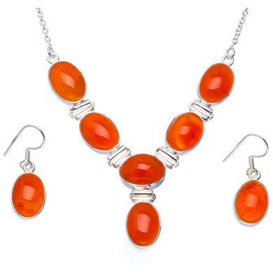 Natural Carnelian Handmade Unique 925 Sterling Silver Jewelry Set Necklace 18