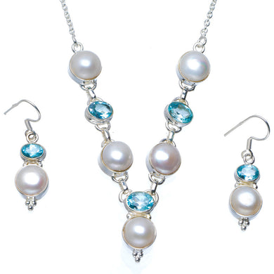 Natural River Pearl and Blue Topaz 925 Sterling Silver Jewelry Set Necklace 19.5