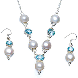 "Natural River Pearl and Blue Topaz 925 Sterling Silver Jewelry Set Necklace 19.5"" Earrings 1.5"" A3639"