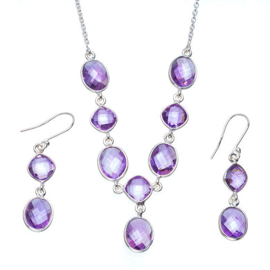 Natural Amethyst Handmade Unique 925 Sterling Silver Jewelry Set Necklace 18.5