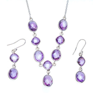 "Natural Amethyst Handmade Unique 925 Sterling Silver Jewelry Set Necklace 18.5"" Earrings 1.75"" A3644"