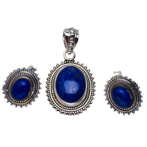 "Natural Lapis Lazuli Handmade Unique 925 Sterling Silver Jewelry Set Pendant 1.5"" Stud 0.75"" A3647"