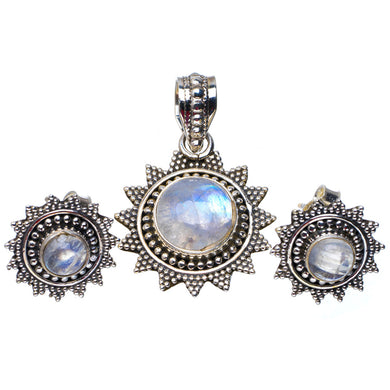 Natural Rainbow Moonstone 925 Sterling Silver Jewelry Set Pendant 1.25