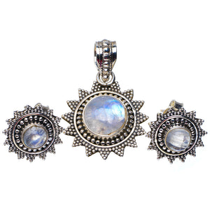 "Natural Rainbow Moonstone 925 Sterling Silver Jewelry Set Pendant 1.25"" Stud 0.5"" A3653"