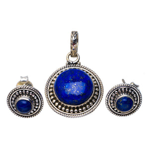 "Natural Lapis Lazuli Handmade Unique 925 Sterling Silver Jewelry Set Pendant 1.25"" Stud 0.5"" A3658"