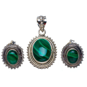 "Natural Malachite Handmade Unique 925 Sterling Silver Jewelry Set Pendant 1.5"" Stud 0.75"" A3661"