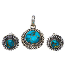"Natural Copper Turquoise 925 Sterling Silver Jewelry Set Pendant 1.25"" Stud 0.5"" A3663"
