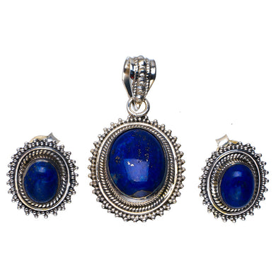 Natural Lapis Lazuli Handmade Unique 925 Sterling Silver Jewelry Set Pendant 1.5