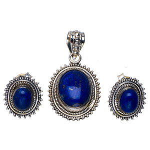 "Natural Lapis Lazuli Handmade Unique 925 Sterling Silver Jewelry Set Pendant 1.5"" Stud 0.75"" A3669"