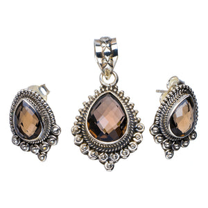 "Natural Smoky Quartz Handmade Unique 925 Sterling Silver Jewelry Set Pendant 1.5"" Stud 0.75"" A3675"