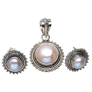 "Natural River Pearl Handmade Unique 925 Sterling Silver Jewelry Set Pendant 1.25"" Stud 0.5"" A3676"