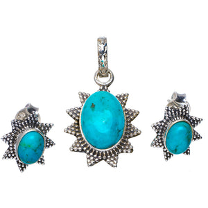 "Natural Turquoise Handmade Unique 925 Sterling Silver Jewelry Set Pendant 1.25"" Stud 0.5"" A3679"