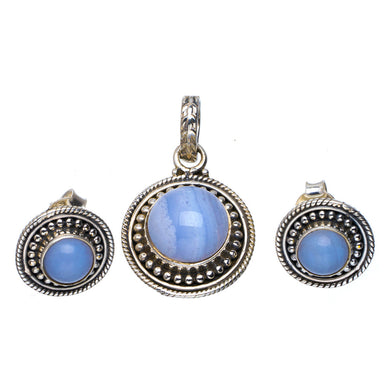 Natural Blue Lace Agate Handmade Unique 925 Sterling Silver Jewelry Set Pendant 1.25