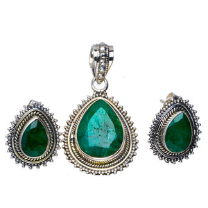 "Natural Emerald Handmade Unique 925 Sterling Silver Jewelry Set Pendant 1.5"" Stud 0.75"" A3688"