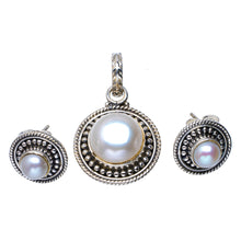"Natural River Pearl Handmade Unique 925 Sterling Silver Jewelry Set Pendant 1.25"" Stud 0.5"" A3691"