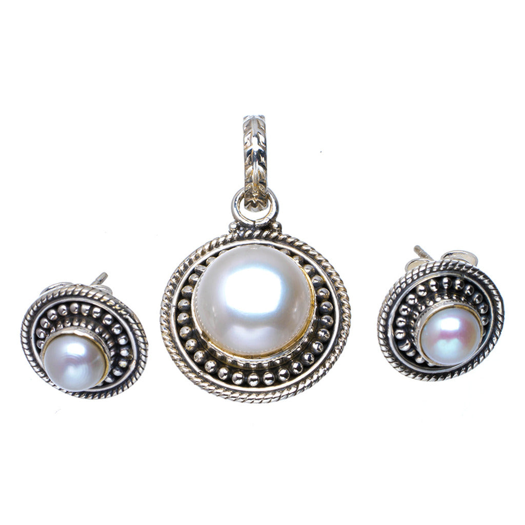 Natural River Pearl Handmade Unique 925 Sterling Silver Jewelry Set Pendant 1.25