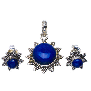 "Natural Lapis Lazuli Handmade Unique 925 Sterling Silver Jewelry Set Pendant 1.25"" Stud 0.5"" A3693"