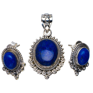 "Natural Lapis Lazuli Handmade Unique 925 Sterling Silver Jewelry Set Pendant 1.5"" Stud 0.75"" A3698"