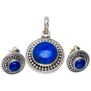 "Natural Lapis Lazuli Handmade Unique 925 Sterling Silver Jewelry Set Pendant 1.25"" Studs 0.5"" A3704"