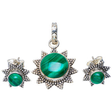 "Natural Malachite Handmade Unique 925 Sterling Silver Jewelry Set Pendant 1.25"" Studs 0.5"" A3706"