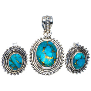 "Natural Copper Turquoise 925 Sterling Silver Jewelry Set Pendant 1.5"" Studs 0.75"" A3707"