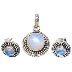 "Natural Moonstone Handmade Unique 925 Sterling Silver Jewelry Set Pendant 1.25"" Studs 0.5"" A3710"