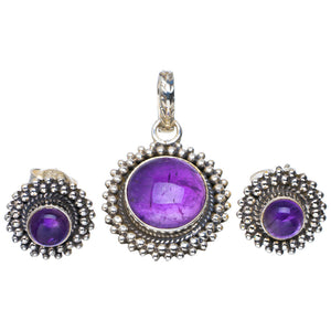 "Natural Amethyst Handmade Unique 925 Sterling Silver Jewelry Set Pendant 1.25"" Studs 0.5"" A3711"