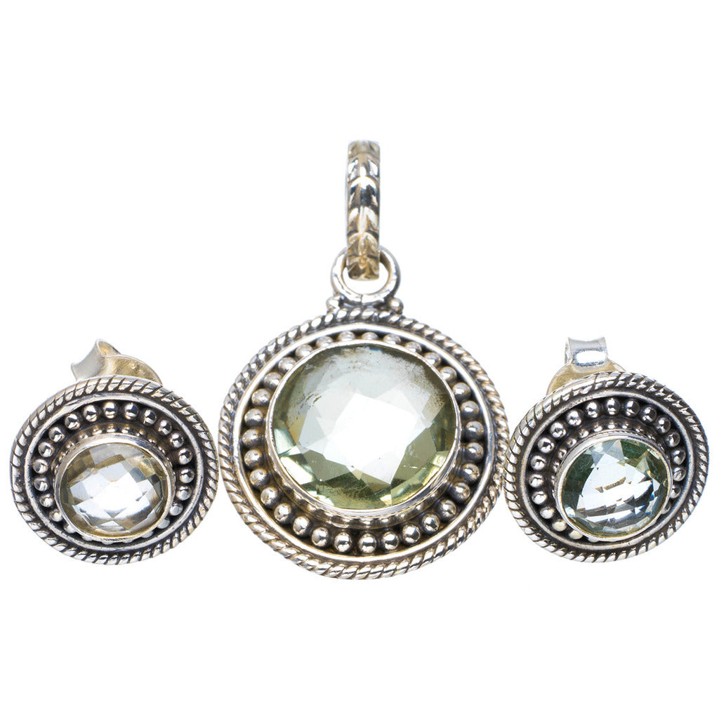 Natural Green Amethyst Handmade Unique 925 Sterling Silver Jewelry Set Pendant 1.25