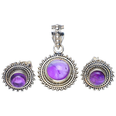 Natural Amethyst Handmade Unique 925 Sterling Silver Jewelry Set Pendant 1.25